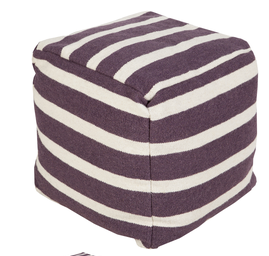 Striped Wool Pouf