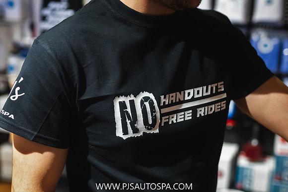 PJs NO HANDOUTS/FREE RIDES TSHIRT