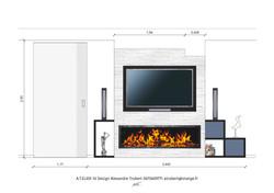 Design d'espace meuble sur-mesure + cheminée éthanol