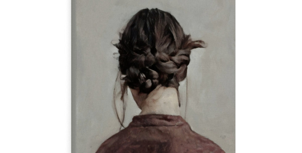 Woman Wears Braids - 24x30 Canvas Giclée Print