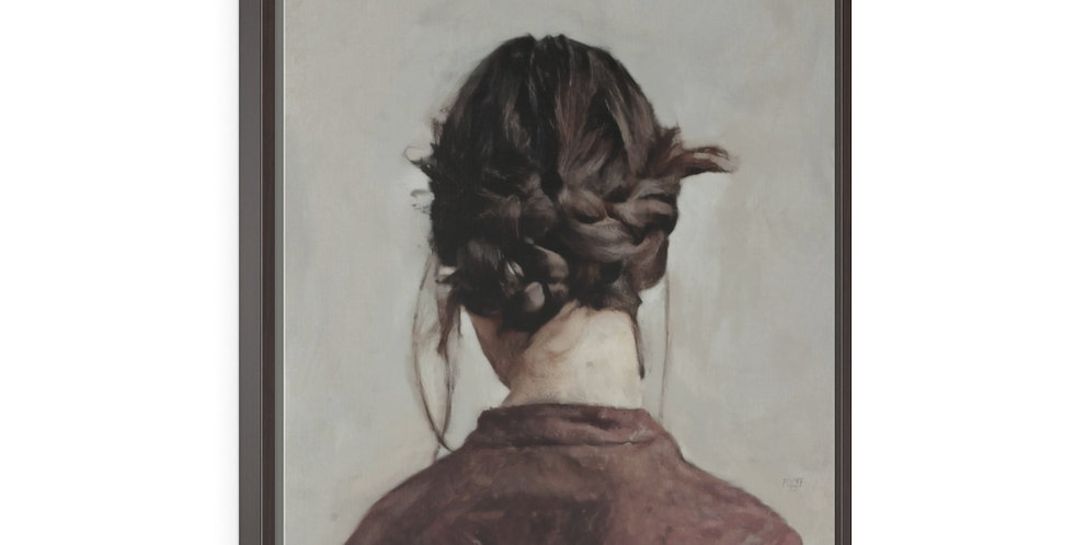 Woman Wears Braids - 24x30 Framed Canvas Giclée Print
