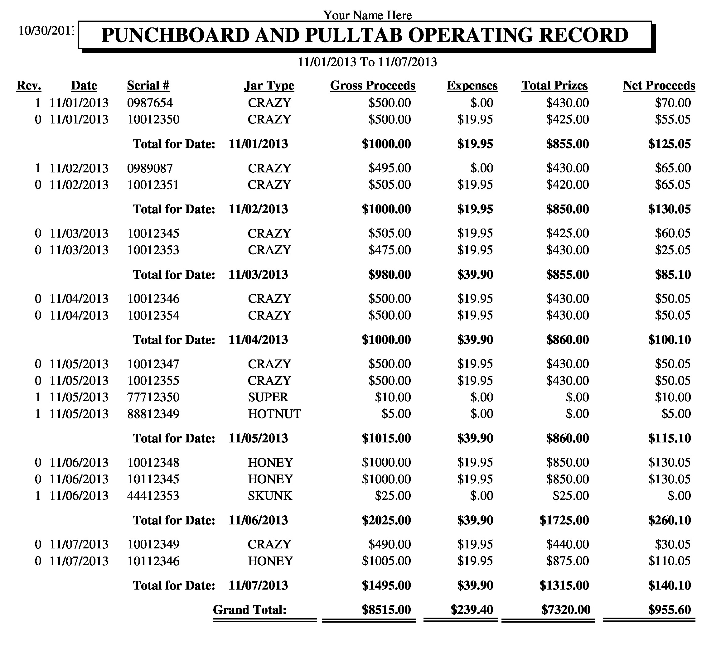 Game Operating Detail Record