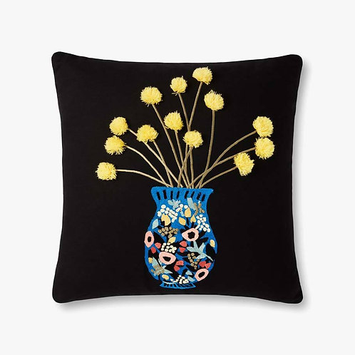 FLOWERs IN VASE Black / Multi Pillows Set of Two - Down Filled