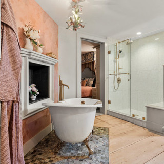 New England Farmhouse Master Bedroom and Bath