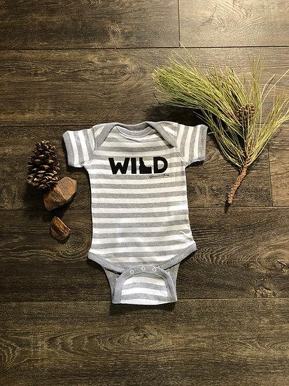 Striped Grey WILD Onesie