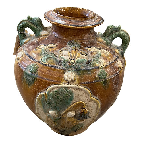 Golden Brown and Chinese Vase With Green Dragon Handles