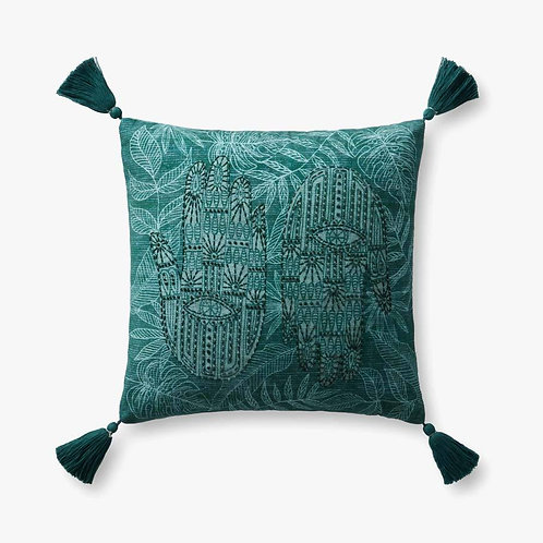 Green Tasseled Pillows Set of Two - Down Filled