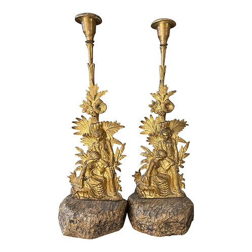 Early 19th Century Cast Brass and Gilded Candlesticks With Romantic Figures From