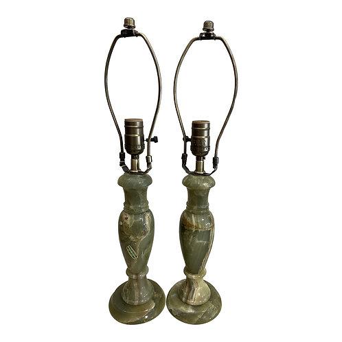 Vintage Italian Green Onyx Lamps - a Pair