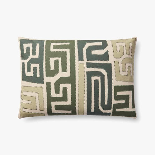 Aztec Lines of Green / Multi Set of Two Down-Filled
