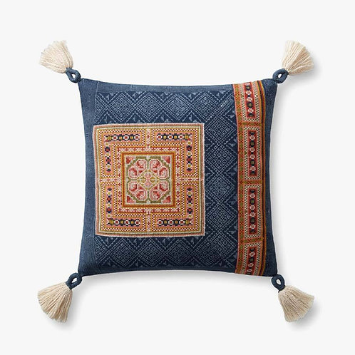Square Navy / Multi with Tassels Pillows Set of Two - Down Filled
