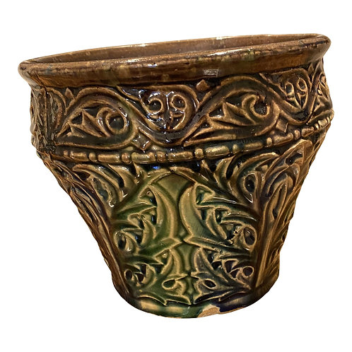 Late 19th Century Majolica Glaze Flower Pot With Thistle Leaf Pattern