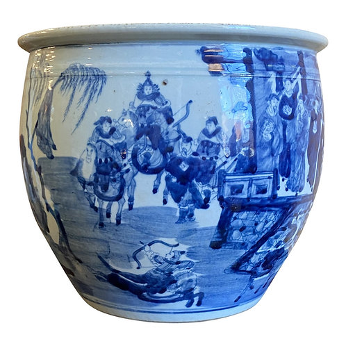 Classic Blue and White Round Planter