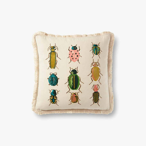 Garden Visitors in Natural / Multi Pillows Set of Two - Down Filled