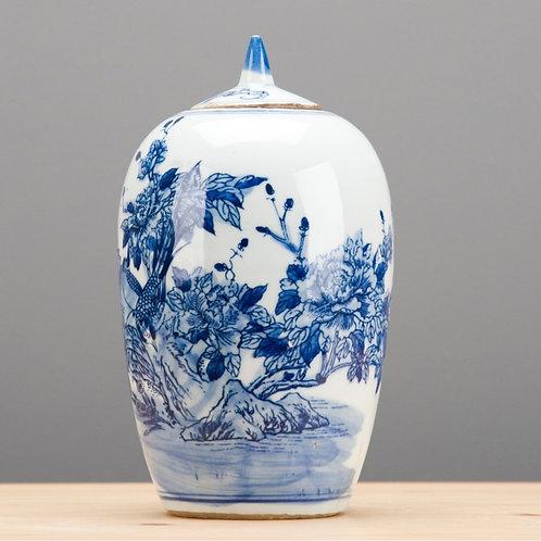 Blue And White Lidded Jar-Garden