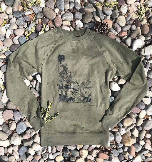 LS Idaho Adventure Crew Sweater Olive