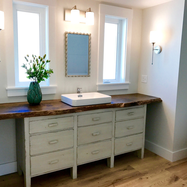 Custom- made Edge Wood Vanity