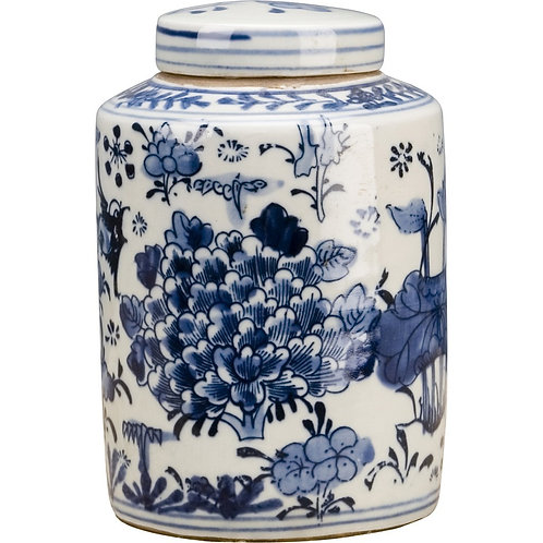 Oriental Classic Porcelain Small Tea Jar- Blue And White Flower