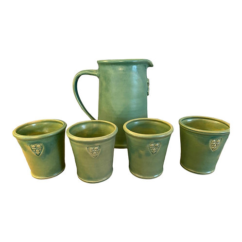 Arts and Crafts Ceramic Pitcher With Cups - 5 Piece Set
