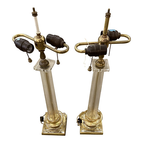 1970 Brass and Glass Lamps - a Pair