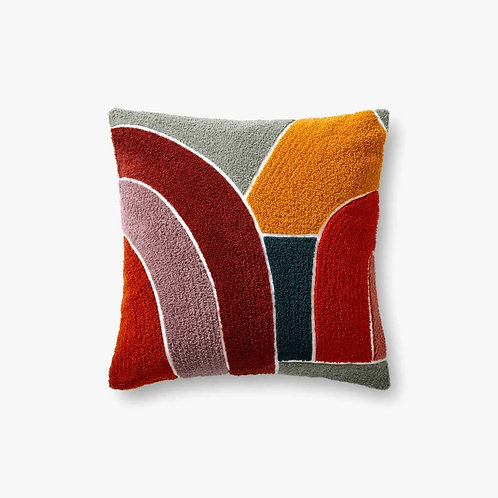 Contemporary Red Toned Pillows Set of Two - Down Filled