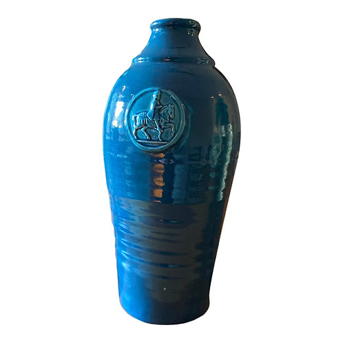 1970s Tall Teal Blue Pottery Wine Vase