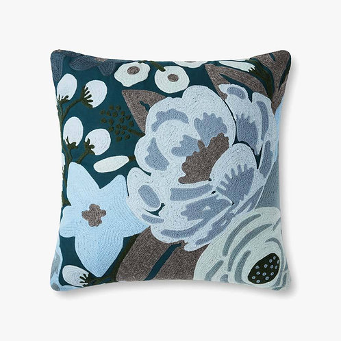 Morning Glory of Blue Pillows Set of Two - Down Filled