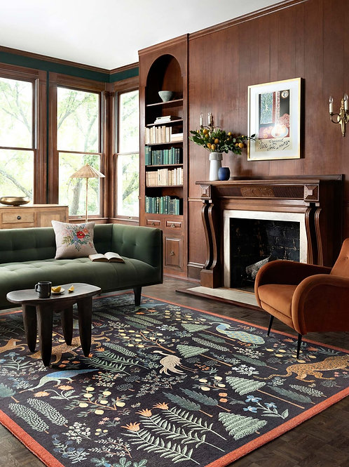 Wild Forest Les Fauves Black Rug Various Sizes Available