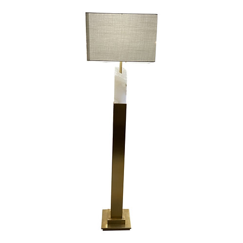 Uttermost Alabaster and Brass Kryptonite Floor Lamp