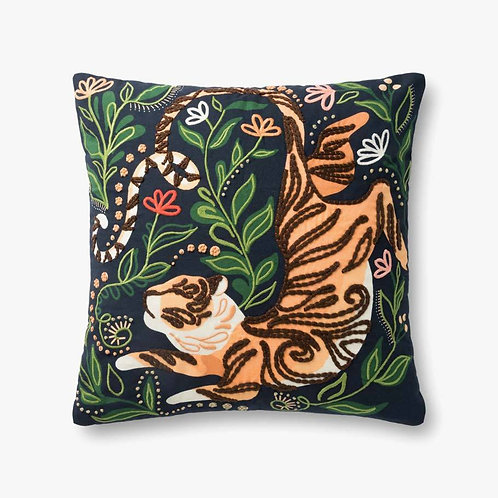 Black / Multi TIGER IN WAITING Pillows Set of Two - Down Filled