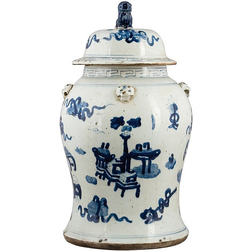 Blue And White Lidded Lion Jar- Floral