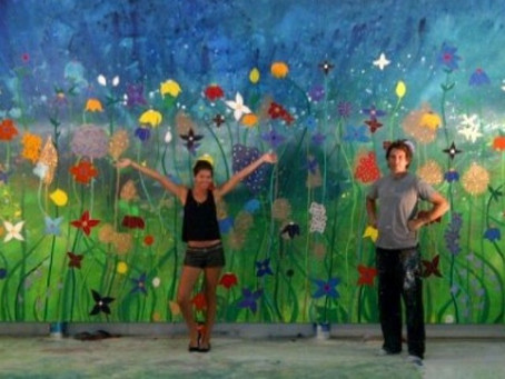 """Still looking for a home for """"Lets take a walk"""", 12'x21′ flower painting"""