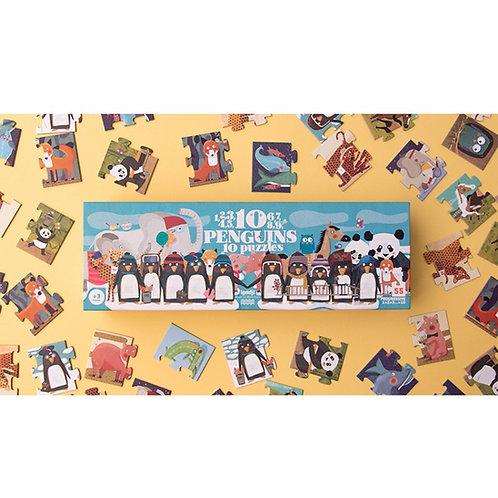 פאזל פינגווינים מ-1 עד 10