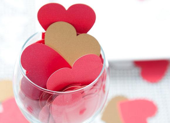 קונפטי לבבות - 3 צבעים, 2 גדלים