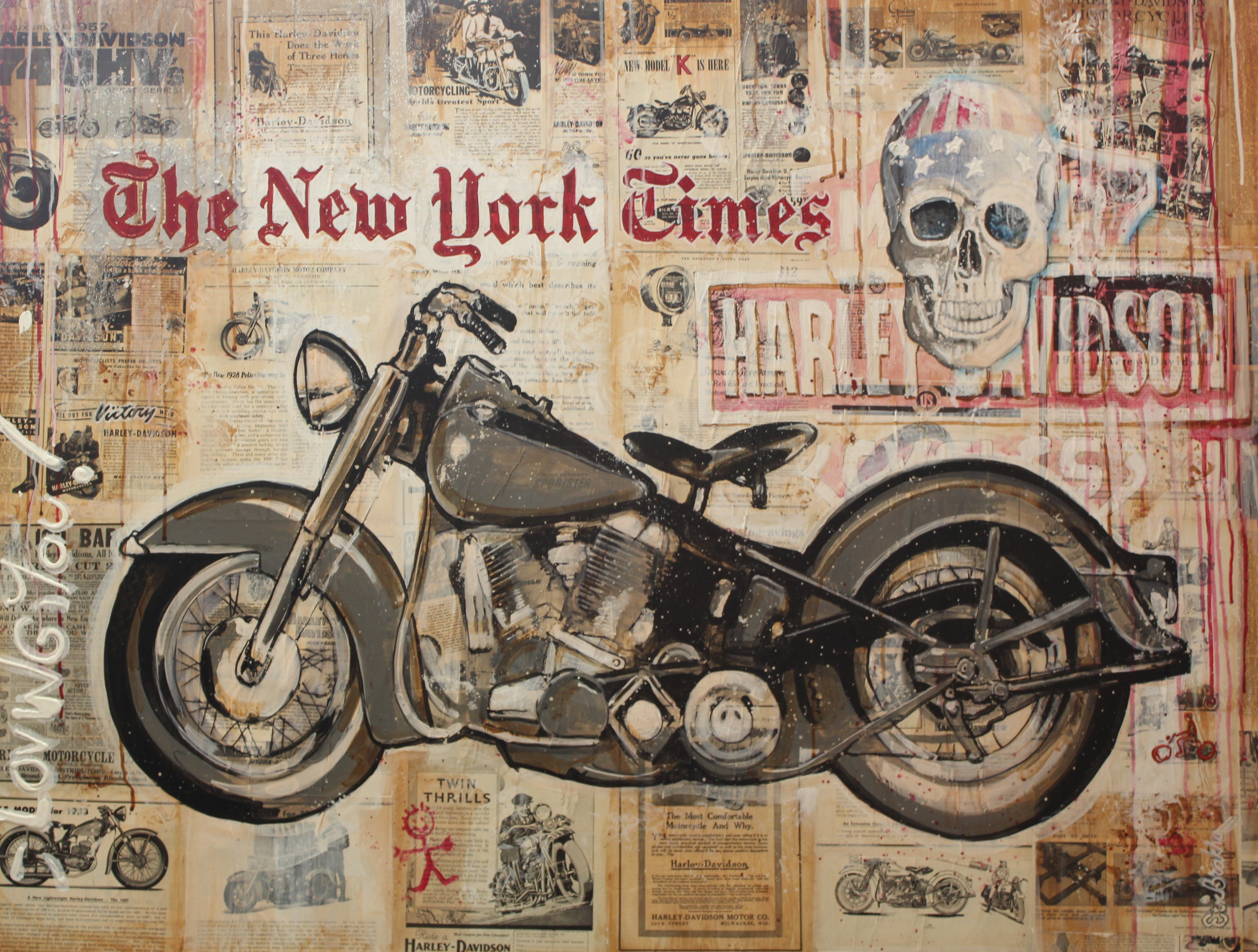harley davidson mix collage acrylic 130x100 sold
