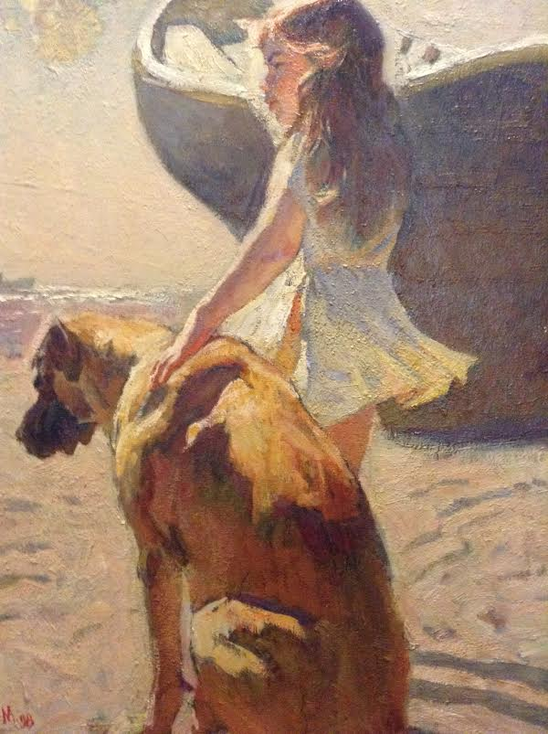 Mark Vcherushanski   79x60 Girl with a dog   Oil on Canvas
