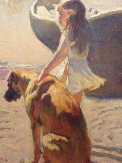 Mark Vcherushanski   79x60 Girl with a dog   Oil on Canvas