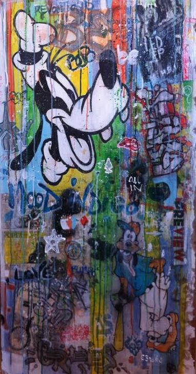 Donald Duck Mix media on wood 63x122 cm 2015