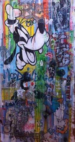 Donald Duck Mix media on wood 63x122 cm 2015