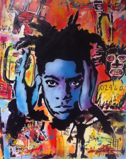 SAMO   is the street srt name of Jean Michel Basquiat 90x67cm   acr on canvas DA