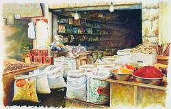 Mahane Yehuda Market   BENI GASSENBAUER  2200$ - 2500 $      2013     103x67 framed watercolor