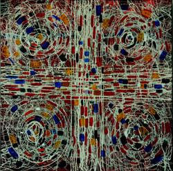 June Katz Urban Abstract I Mixed media on wood panel 120 cm x 120cm 2015