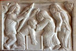 Michael Rinat    Matitiahu Killing The Ellinized Jew    Italian marble  28  20  3 cm