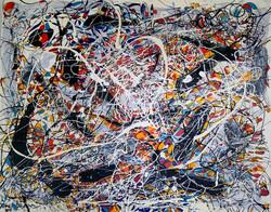 June Katz Harlequin Mixed media on Canvas 61cm x 76cm 2012