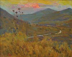 Mark Vcherushanski Evening in Modiin 1998 41x51 Oil on cardboard