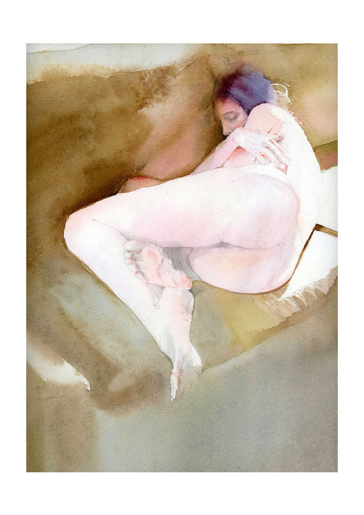 nadya kurbatov, sleep, ,30_40 cm, watercolor on paper