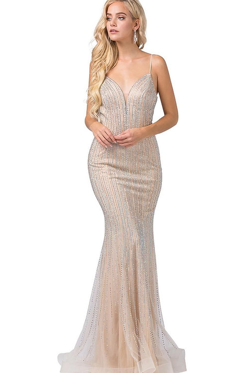Champagne Fit & Flare Gown Size L