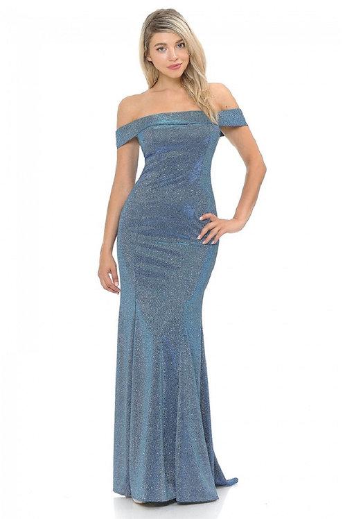 Blue Metallic Off Shoulder Long Dress Size S
