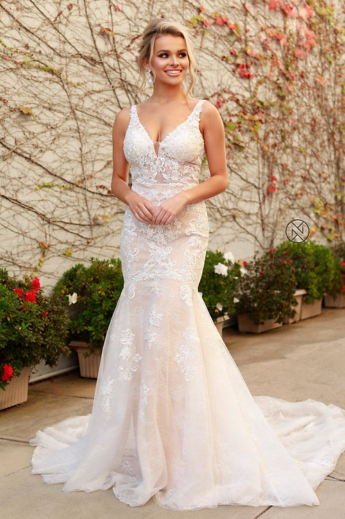 White & Nude Lace Fit & Flare Bridal Gown Size 8