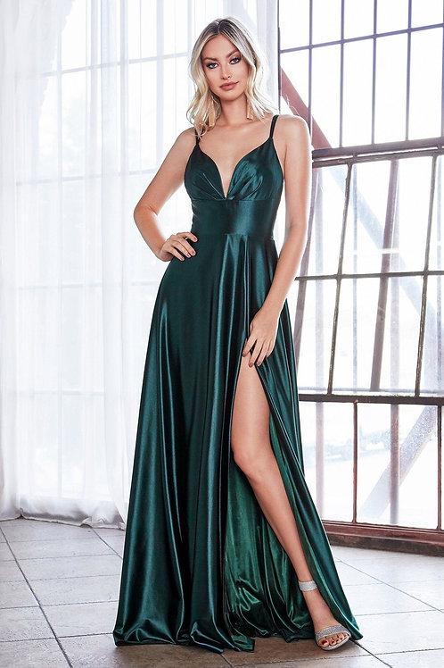 Emerald Satin Long Dress Size 8